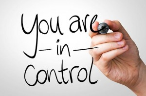 You are in Control hand writing with a black mark on a transpare