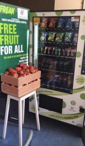 fruit beside beside vending machine